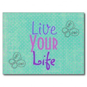 Inspirational Quote Butterflies and Polka dots Post Card