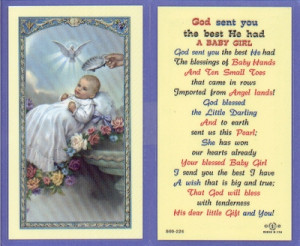 Laminated Holy Card with an image of a Baby Girl being baptised and ...