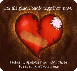 all glued back together now. I make no apologies for how I chose ...