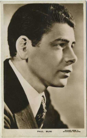 Paul Muni pictured on a 1930s Picturegoer Postcard from England