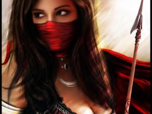 Warrior Girl, 3d art, brunette, cirl, close-up, red, sexy