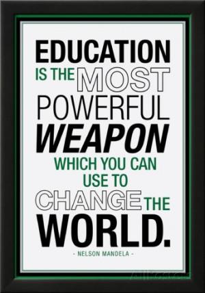 Education Nelson Mandela Quote Lamina Framed Poster