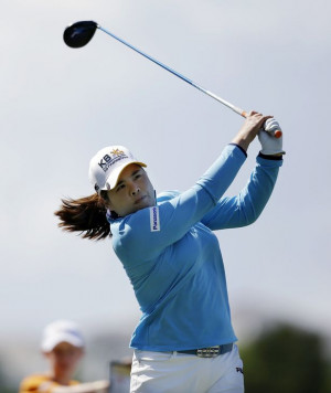 Inbee Park, of South Korea, hits a tee shot on the second hole during ...