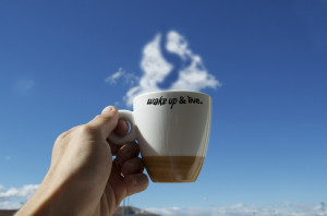 ... happy, joy, life, morning, mug, quotes, sayings, sky, summer, wake up