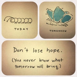 don't lose hope :) tomorrow u can be a butterfly!