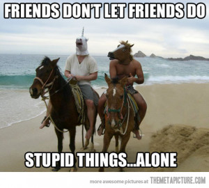 Funny photos funny friends horse mask