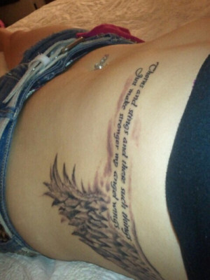Angel Wing Quote Tattoo On Ribs Image