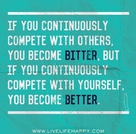 This is very clear and very true! The only person I'm in competition ...
