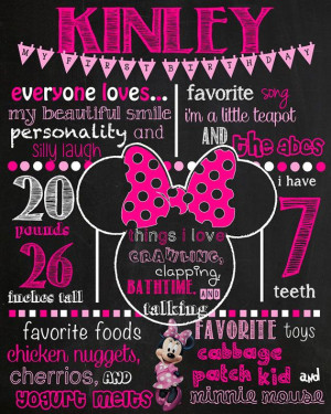 Minnie Birthday Chalkboard Sign DIGITAL FILE ONLY This item is ...