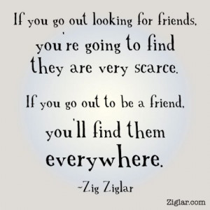 If you go out looking for friends, you will find they are very scarce ...