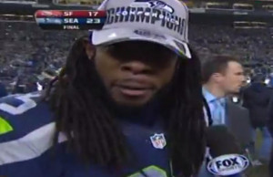 ... Sherman Goes on Epic Rant During Erin Andrews Interview (Video