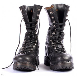 Mens Combat Boots Black Leather Biker Boots Military Boots