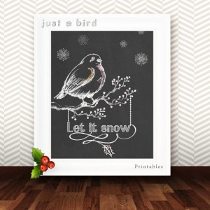 LET IT SNOW instant download Quote print by Justabirdprintables, $5.00