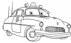 Pixar Sheriff Cars Coloring Page