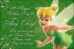 Tinkerbell Disney Fairy Birthday Party Invitation Kamistad Celebrity