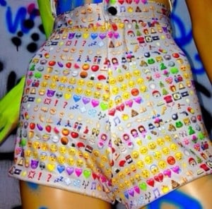 shorts rad emoji print ghetto cybr o-mighty fashion tumblr weird wtf ...