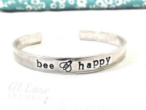 BEE HAPPY bracelet. bumble bee cute quirky quote by LilyAndMango, $22 ...