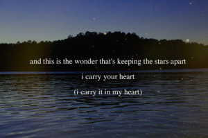 ee cummings, i carry your heart, love, poem, poetry, quote