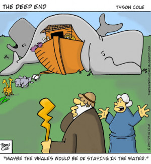 Funny Noah's Ark with whales