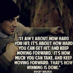 Motivational Quote By Rocky Balboa: It ain't About how hard you hit