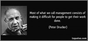 ... making it difficult for people to get their work done. - Peter Drucker