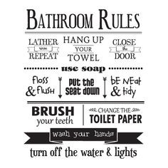 Bathroom Rules Wall Quotes™ Decal More