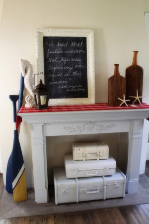 LOVE the chalkboard and quote, the seahorse and wood balance, and of ...