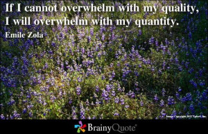 ... with my quality, I will overwhelm with my quantity. - Emile Zola