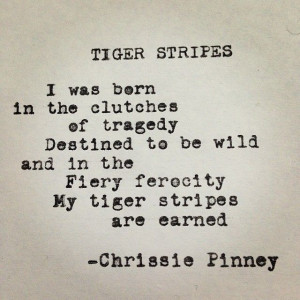 Chrissie Pinney Tiger Stripes. Rebuild series no. 28. #tiger #stripes ...