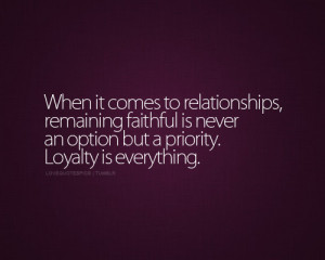 when it comes to relationships, remaining faithful is never an option ...