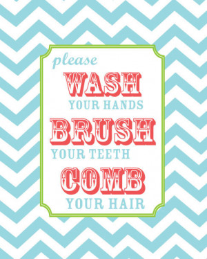 Kids Bathroom - Wash Your Hands, Brush Your Teeth, Comb Your Hair ...