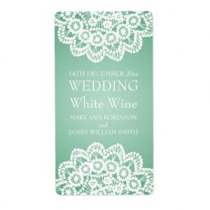 elegant_wedding_wine_label_vintage_lace_mint_green ...