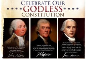 "... God We Trust."" It features pro-faith quotes from Founding Fathers"