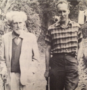 Ezra Pound and James Laughlin walking up the salita (stoney path) from ...