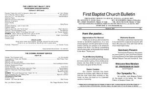 Baptist Church Bulletin Sample