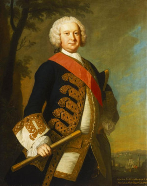 Portrait of Admiral Sir Peter Warren 1703-1752 painted by the artist ...