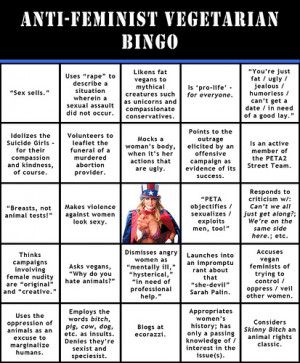 Anti-Feminist Vegetarian Bingo: We treat women like pieces of meat.
