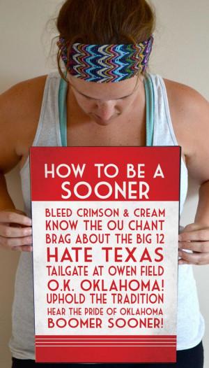 Sooner Art Print, OU Quote Poster Sign, Oklahoma Football Decor 11 x ...