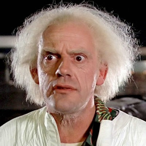 Christopher Lloyd in his iconic role Doc Brown