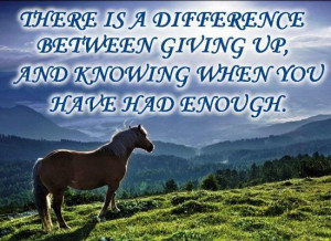 ... difference between giving up, and knowing when you have had enough