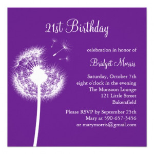 Best Wishes 21st Birthday Invitation (purple) - Zazzle.com.au
