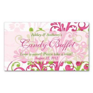 ... Green Floral Wedding Candy Buffet Gift Cards Business Card Template