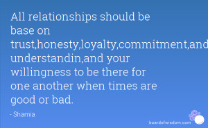 All relationships should be base on trust,honesty,loyalty,commitment ...