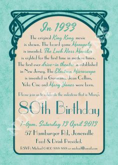 80th Birthday Party Invitations Womens by NunskDesigns on Etsy, $15.00