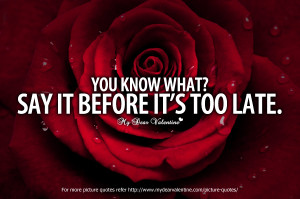 Adorable Quotes - You know what Say it before its too late