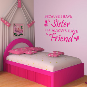 Magenta Because I Have a Sister Wall Decal on a bedroom wall