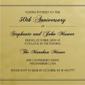 50th Anniversary Invitations – The Golden Years
