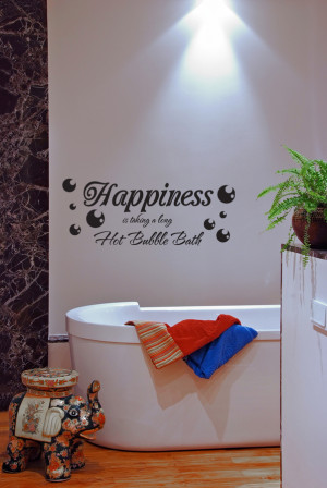 Wall-Decal-Sticker-Quote-Vinyl-Art-Happiness-is-a-Bubble-Bath-Bathroom ...