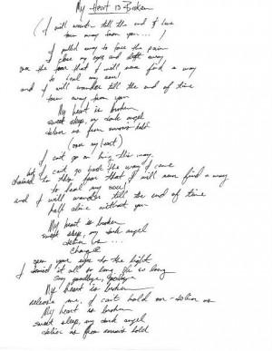 Lyrics .. My Heart is Broken ... Amy Lee