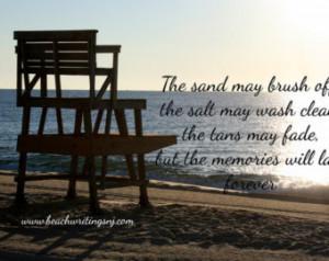 Beach Quote Photo Sand Salt Tan Memories last Forever Life Guard 5x7 ...